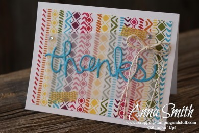 Rainbow Borders Thank You Card made with Bohemian Borders stamp set and Hello You Thinlits