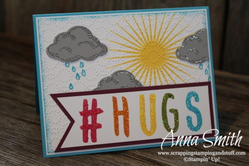 #Hugs Card using Kinda Eclectic, Sprinkles of Life, Layered Letters and the Tree Builder Punch