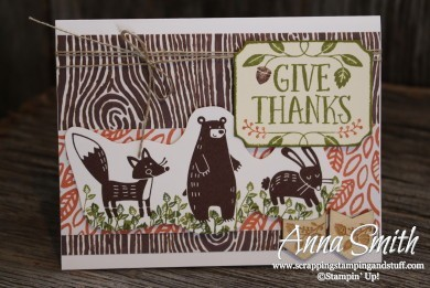 Forest Friends card using Thankful Forest Friends stamp set and Into the Woods designer series paper