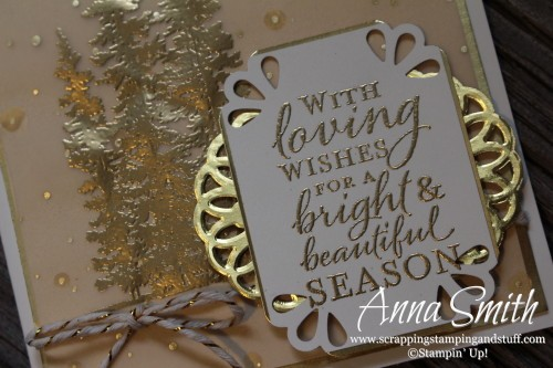 Gold Wonderland Christmas Card using Stampin' Up! Wonderland stamp set and Winter Wonderland designer vellum. Greeting is from Embellished Ornaments stamp set.