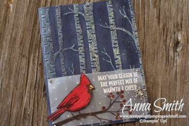 Cardinal and Glimmering Trees Card made using the Joyful Season stamp set and Woodland embossing folder Stampin' Up!