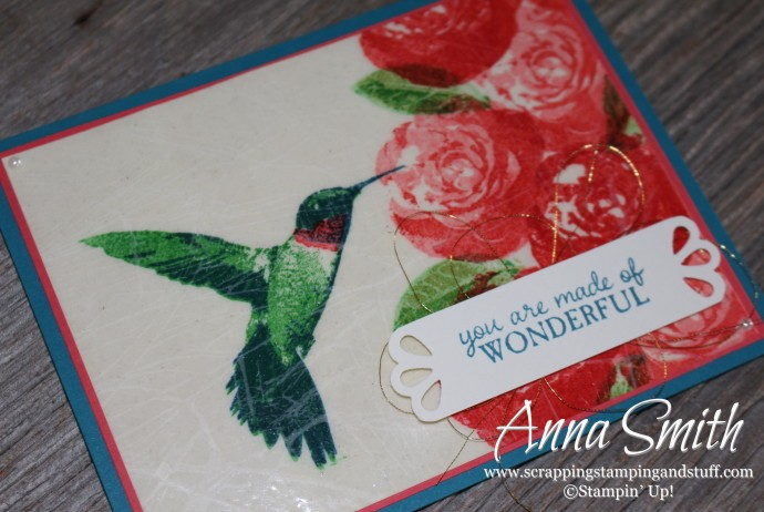 Cracked Glass Technique Hummingbird Card made with Stampin' Up! Picture Perfect stamp set