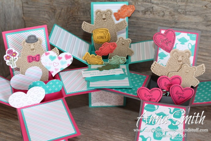 Card in a Box with video tutorial and written instructions. Made with Bear Hugs stamp set and Have a Cuppa designer paper