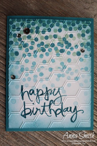 Stampin' Up! Blue Dotty Angles Confetti Birthday Card also uses Watercolor Words stamp set and Honeycomb embossing folder