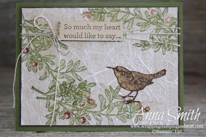 Rustic bird sympathy card made using An Open Heart stamp set with written tutorial