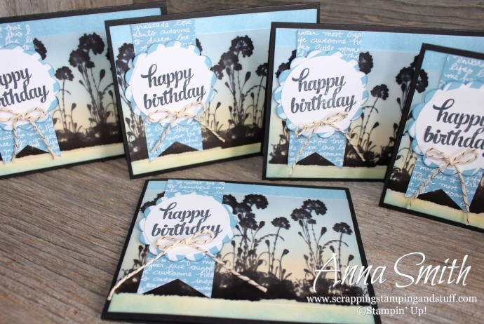 Blue Birthday Card made with Stampin' Up! Serene Silhouettes and Tin of Cards stamp sets
