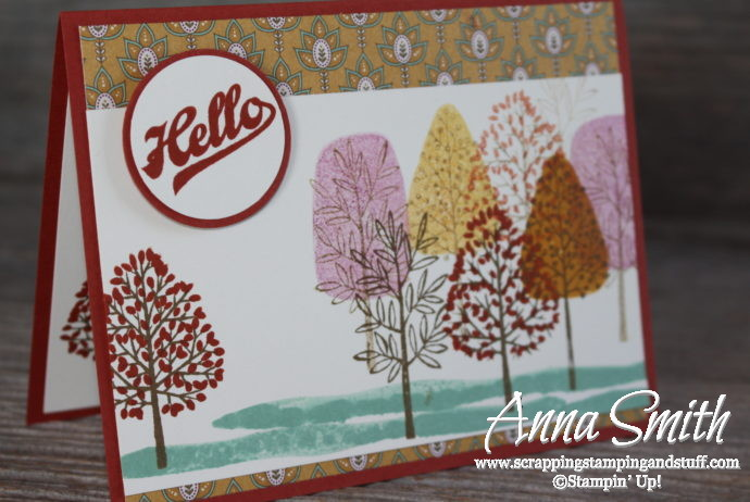 A Totally Trees Fall Card also uses Stampin' Up! Jar of Love stamp set