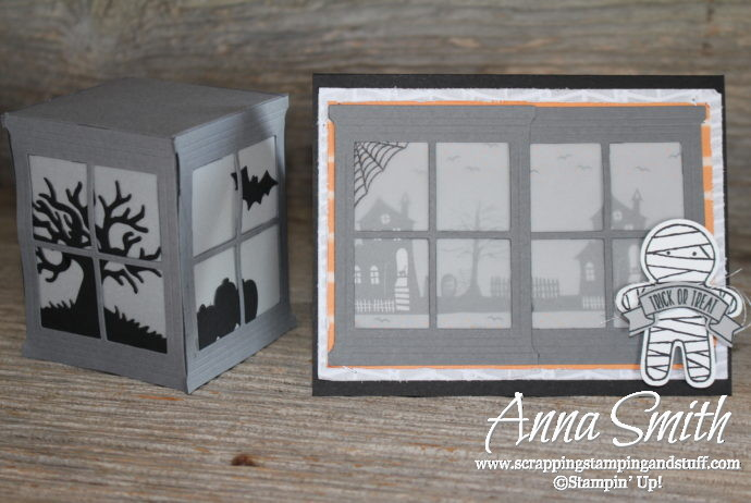 Stampin' Up! Spooky Fun and Halloween Scenes Card and 3D Paper Lantern Tutorial, with cookie cutter punch skeleton!