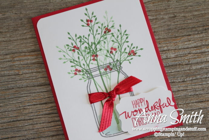 Cute Christmas card made with the Stampin' Up! Jar of Love and Wondrous Wreath stamp sets