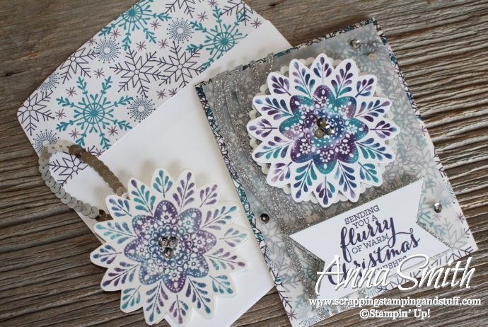 Snowflake Christmas Card and ornament made with Stampin' Up! Frosted Medallions and Flurry of Wishes stamp sets