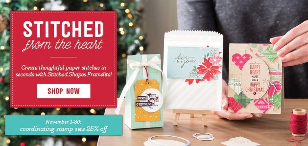 New Stitched Shapes framelits from Stampin' Up! are the perfect handmade touch for cards and craft projects, and coordinating stamp sets are 25% off!