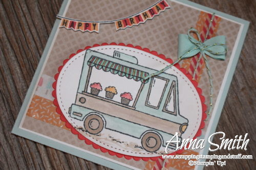 Cute cupcake, ice cream truck birthday card. Earn the Tasty Trucks and Any Occasion stamp sets for free right now during Sale-a-bration!