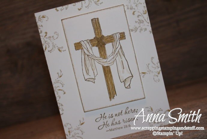 "Easter cross card made with the Stampin' Up! Easter Message and Timeless Textures stamp sets. ""He is not here. He has risen."""