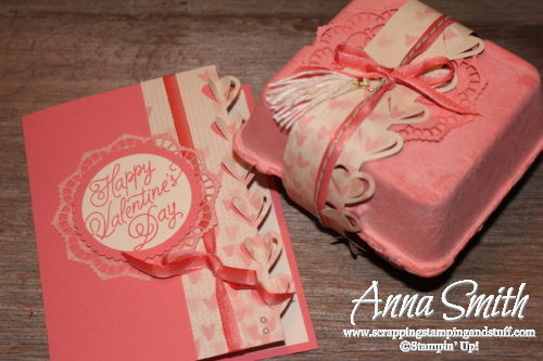 Valentine's Day card and egg carton treat box made with Stampin' Up! Sealed with Love stamp set and Love Notes framelits