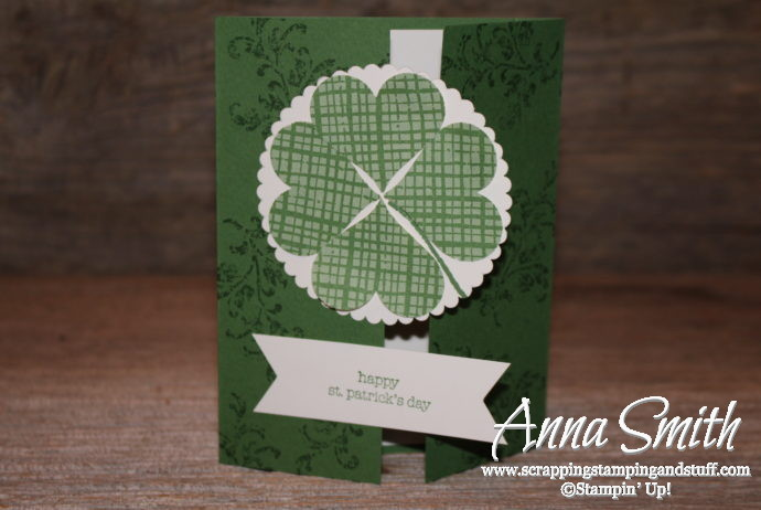 Stampin' Up! card idea for good luck or St. Patrick's Day card using Timeless Textures and Teeny Tiny Wishes stamp sets and heart punch four leaf clover.