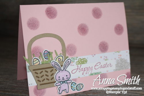 Easter card idea! Cute basket and Easter bunny card made with the Stampin' Up! Basket Bunch stamp set and thinlits bundle