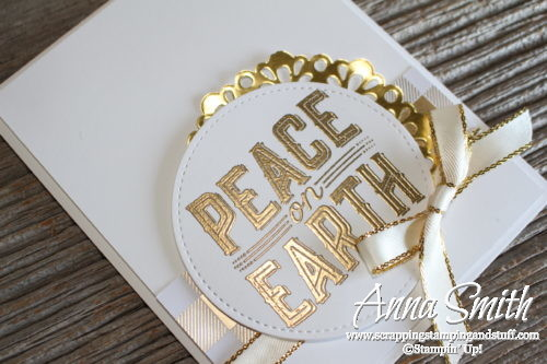 Day 5 of 7 Holiday Catalog Sneak Peeks! Clean and simple Stampin' Up! Christmas card idea - white and gold card using Carols of Christmas stamp set