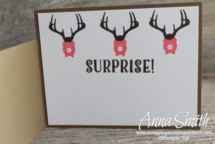 Humorous Masculine Card Idea with Stampin' Up Bookcase Builder Stamp set with Deer Antlers and Pigs - Annual Catalog 2017-2018
