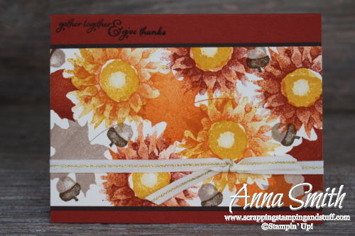 Fall sunflowers and leaves card idea made with the Stampin' Up! Painted Harvest stamp set