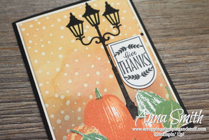 Fall card idea with lantern, gourds and pumpkins. Features Stampin' Up! Gourd Goodness and Labels to Love stamp sets and Christmas Lamppost Thinlits