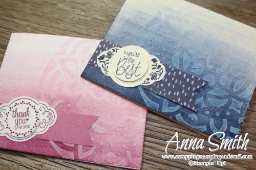 Brayering and embossing paste technique video tutorial on how to make a thank you card with the Stampin' Up! Label Me Pretty stamp set