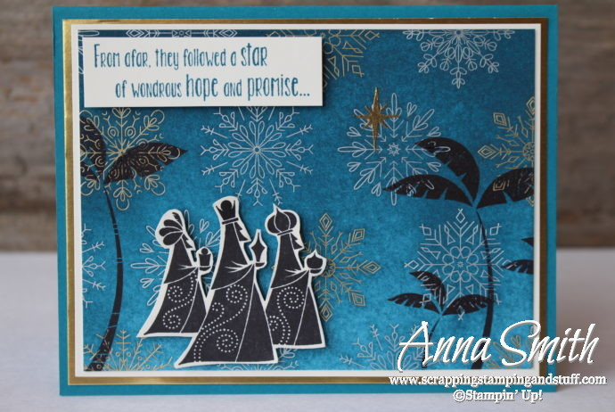 Religious Christmas card idea using the Stampin' Up! Wise Men From Afar stamp set and Year of Cheer designer paper