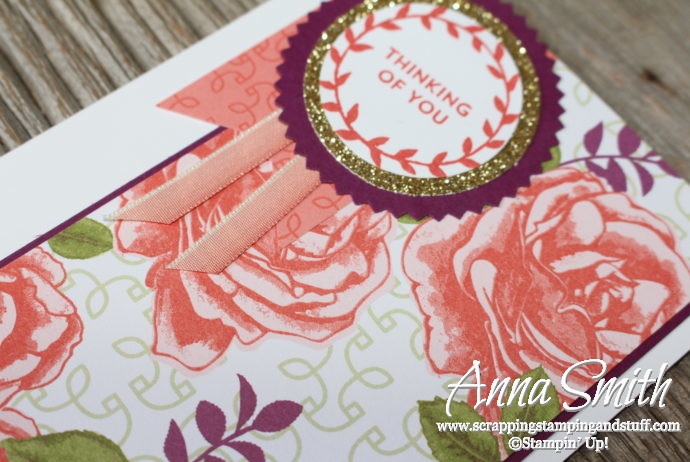 Pretty rose floral thinking of you card idea using the Stampin' Up! Lots of Love stamp set and Petal Garden paper