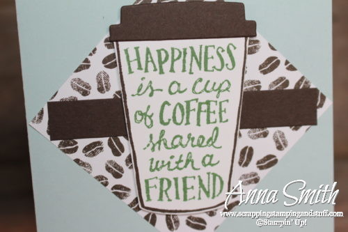 Cute friendship card idea made with the Stampin' Up! Coffee Cafe stamp set, Coffee Cups framelits, and Coffee Break designer paper!