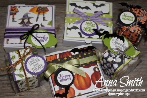 Adorable DIY Halloween treats - Stampin' Up! Spooky Sweets Halloween Treat Boxes with bats, ghosts, witches, cats, and frogs!