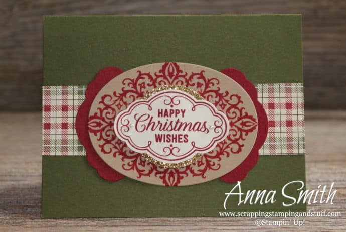 Pretty Christmas card idea using the Stampin' Up! Flourish Filigree stamp set and pretty label punch
