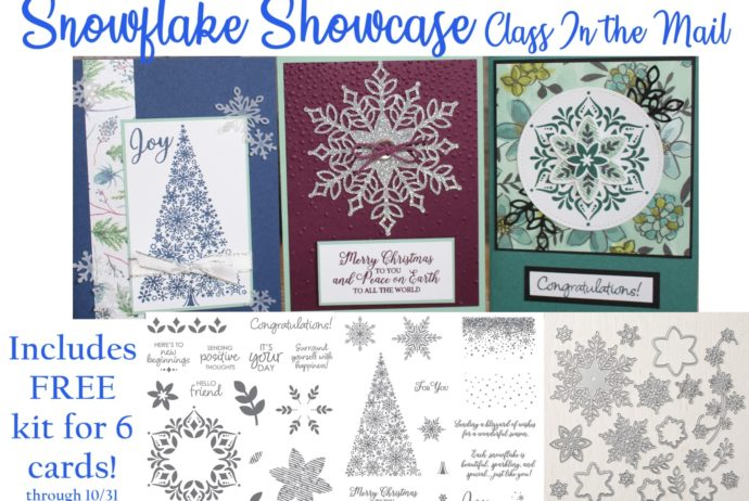 Stampin' Up! Snowflake Showcase class preorder through October 31! Includes instructions and materials to make 6 cards!