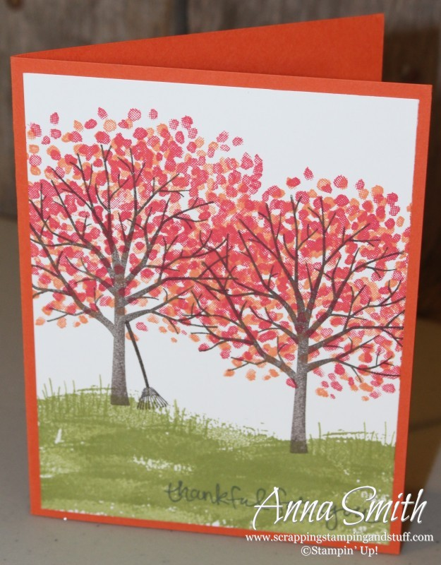 Cute fall card made with Stampin' Up!'s Sheltering Tree stamp set.