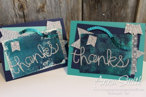 Watercolor Thank You card using Stampin' Up! Hello You thinlits dies