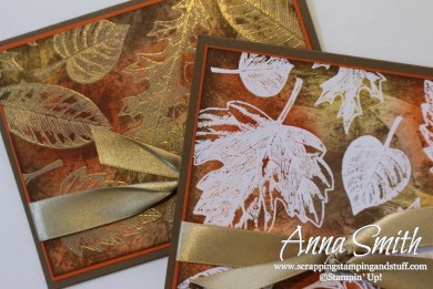 Stampin' Up! Vintage Leaves stamp set fall card idea using emboss resist technique and tissue stamping