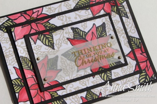 Triple Stamped Poinsettia Card using Reason for the Season and Embellished Ornaments stamp sets