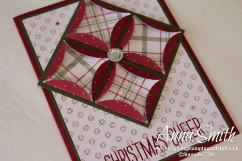 Quilt Technique Card using Stampin' Up! Merry Moments designer paper and Cheer All Year stamp set
