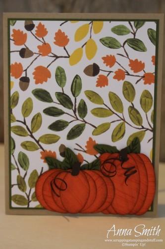 Pumpkin Time card using Into the Woods designer paper, Cheer All Year stamp set, pumpkin punch art
