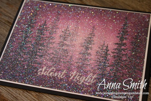 Blackberry Bliss Silent Night Card featuring Stampin' Up! Wonderland stamp set and lots of glitter! I love purple and sparkles!
