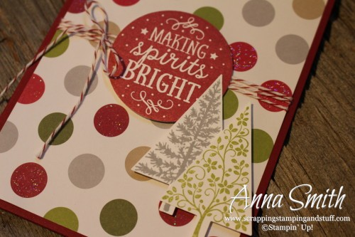 Festive Christmas Card - Merry Moments paper, Among the Branches and Festival of Tree stamp sets Stampin' Up!