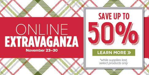 Stampin' Up! Online Extravaganza for savings up to 50% off starting Monday and lasting until Cyber Monday! Plus my own personal special offer!