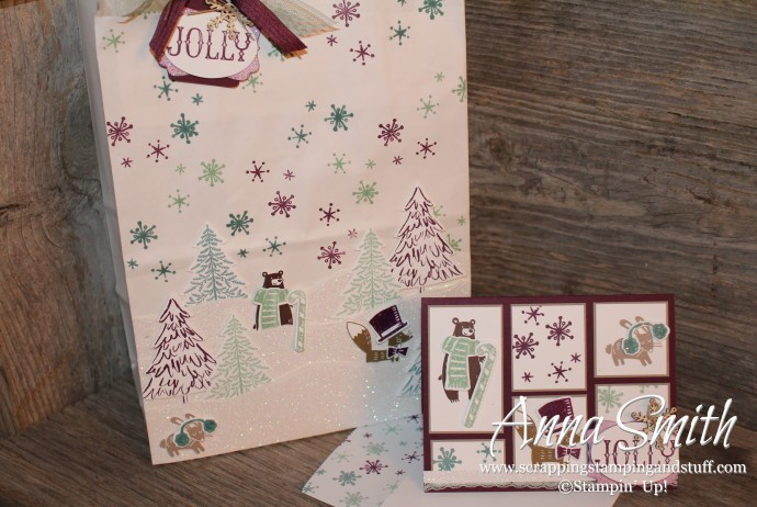 ICS Blog Hop Perfectly Packaged - Handmade Gift Bag and Card using Thankful Forest Friends, Snow Place, Peaceful Pines and Oh What Fun stamp sets