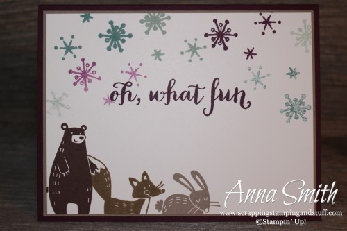 ICS Blog Hop Perfectly Packaged - Handmade Christmas Card using Thankful Forest Friends, Snow Place, Peaceful Pines and Oh What Fun stamp sets
