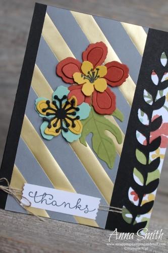 Sneak Peek!! Handmade Thank You featuring Stampin' Up! Botanical Blooms stamp set, framelits and designer paper, also Cottage Greetings stamp set