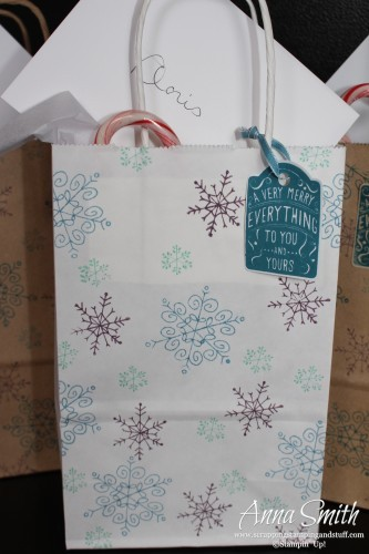 Stamped Snowflake Gift Bag using Endless Wishes and Merry Everything stamp sets