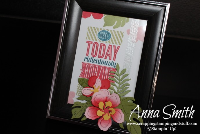 Stampin' Up! Stamped Framed Art using a picture frame and the Botanical Blooms and Amazing Birthday stamp sets
