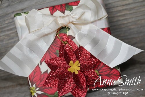 Home for Christmas Gift Wrap presents...this paper is gorgeous! Festive flower builder punch, Your Presents stamp set, Snowflake elements