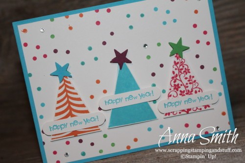 Celebrate the New Year Card made with Stampin' Up! Festival of Trees stamp set and tree punch. It's a great birthday card too!