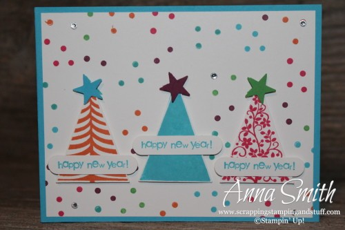 celebrate the new year card made with stampin up festival of trees stamp set