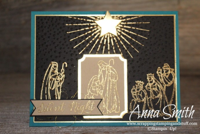 Silent Night Card made using Stampin' Up! All Ye Faithful stamp set and softly falling embossing folder
