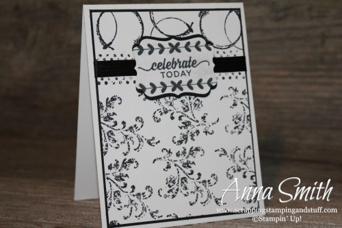 Black and white Timeless Textures wedding card Stampin' Up!